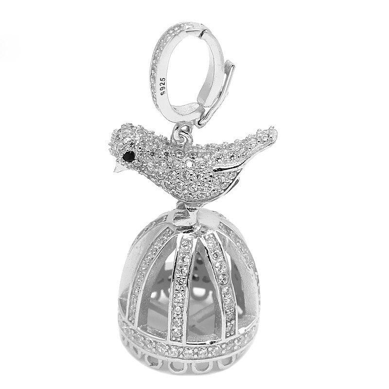 15.3x39.5mm Top qualité en argent Sterling Micro Pave Zircon oiseau Cage gland pendentif bricolage perle Fine bijoux résultats SP-CZ001