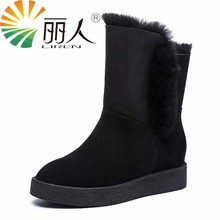 LIREN Classic Cowhide Leather Suede Winter Snow Boots for Women Real Fur Warm Lined Winter Shoes High Quality Gray Black 35-40