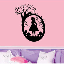 NewArrived Alice In Wonderland Wall Mural Alice Silhouette With Tree  Pattern Vinyl Art Wall Sticker For 5fe89b6dfc38