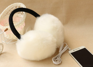 Image 2 - New Arrival Plush headphones winter Headset ear warmer earmuffs music Cartoon earmuffs Headphone for Girls