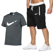 Комплект из двух частей Мужская футболка с коротким рукавом с укороченным топом + шорты Мужские спор
