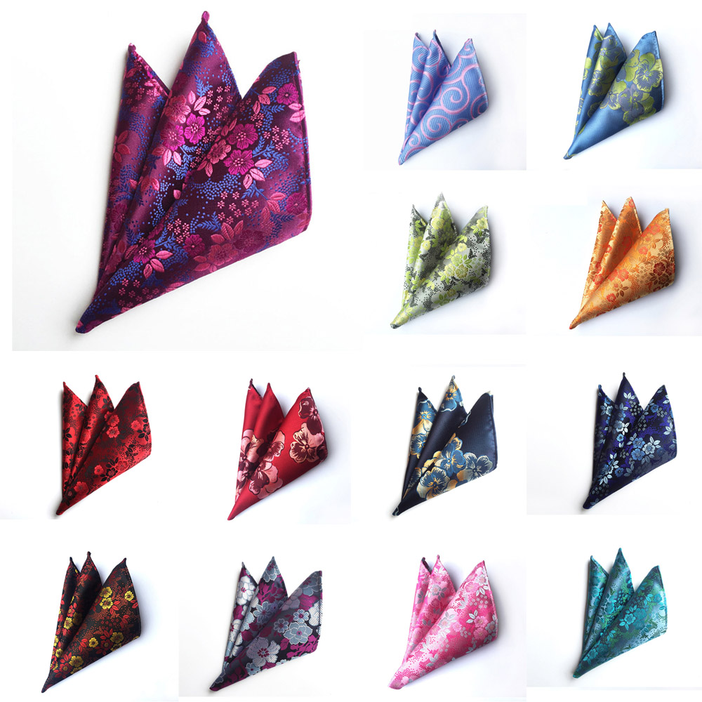 Mens Stylish Colorful Flower Paisley Pocket Square Handkerchief Wedding Hanky HZTIE0227