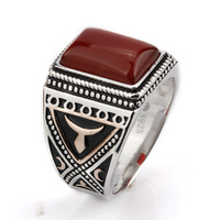 925 Sterling Silver Ring inlay with Red Natural Stone Rectangle Shape Punk Style For Men Women Jewelry