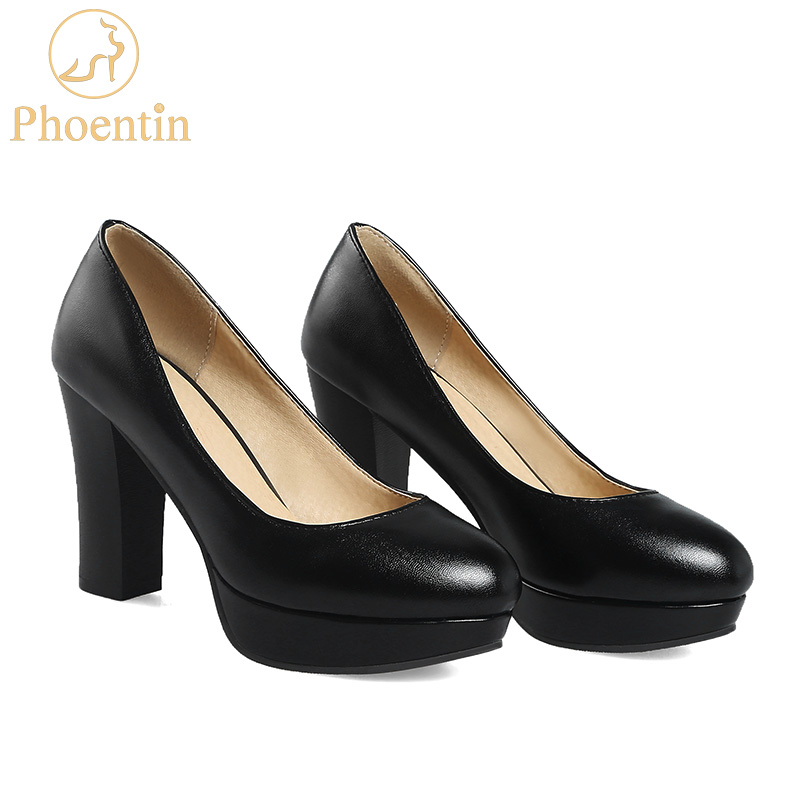 Phoentin platform shoes high heels black slip-on women pumps 2018 elegant ladies dress shoes free shipping new arrival FT340 sexy women semi transparent lace high heels new 2017 ladies sequin shoes slip on thin heel pumps free shipping