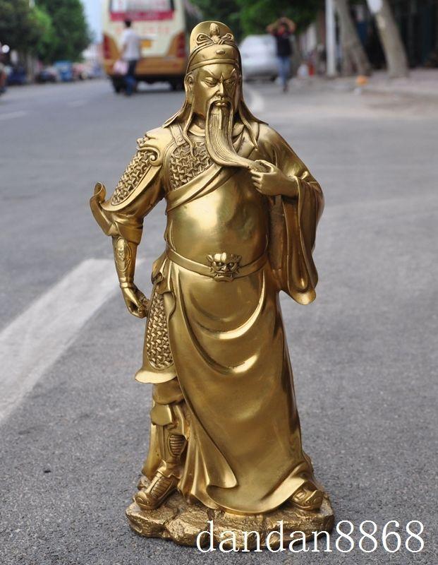 Christmas Chinese Brass famous Generals Kuan Kung Guan Gong guan Yu Warrior God Statue Halloween