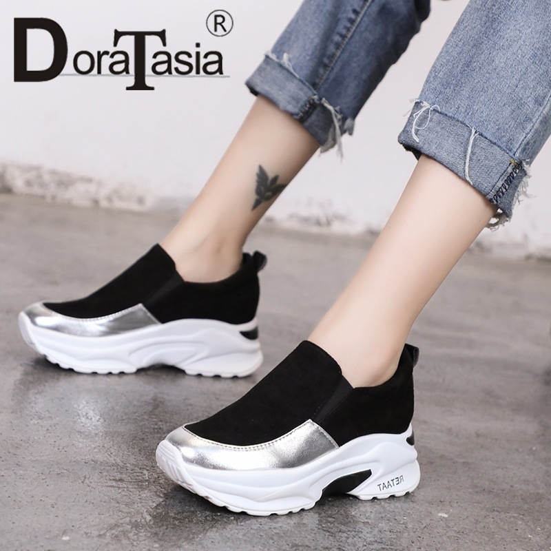 DORATASIA New Height Increasing Mixed Colors Round Toe Flat Platform Shoes Woman Casual Soft Spring Autumn Flats Big Size 35-40 1