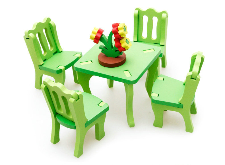 free shipping solid wood model living room or dressing table or bedroom or chair or rocking chair 3d assembling furniture toy - Cheap Rocking Chairs