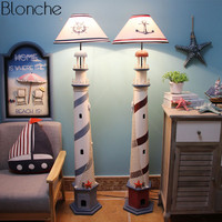 Mediterranean Lighthouse Floor Lamp Retro Ocean Standing Lamp Living Room Bedroom Floor Light Children Room Home Decor Fixtures