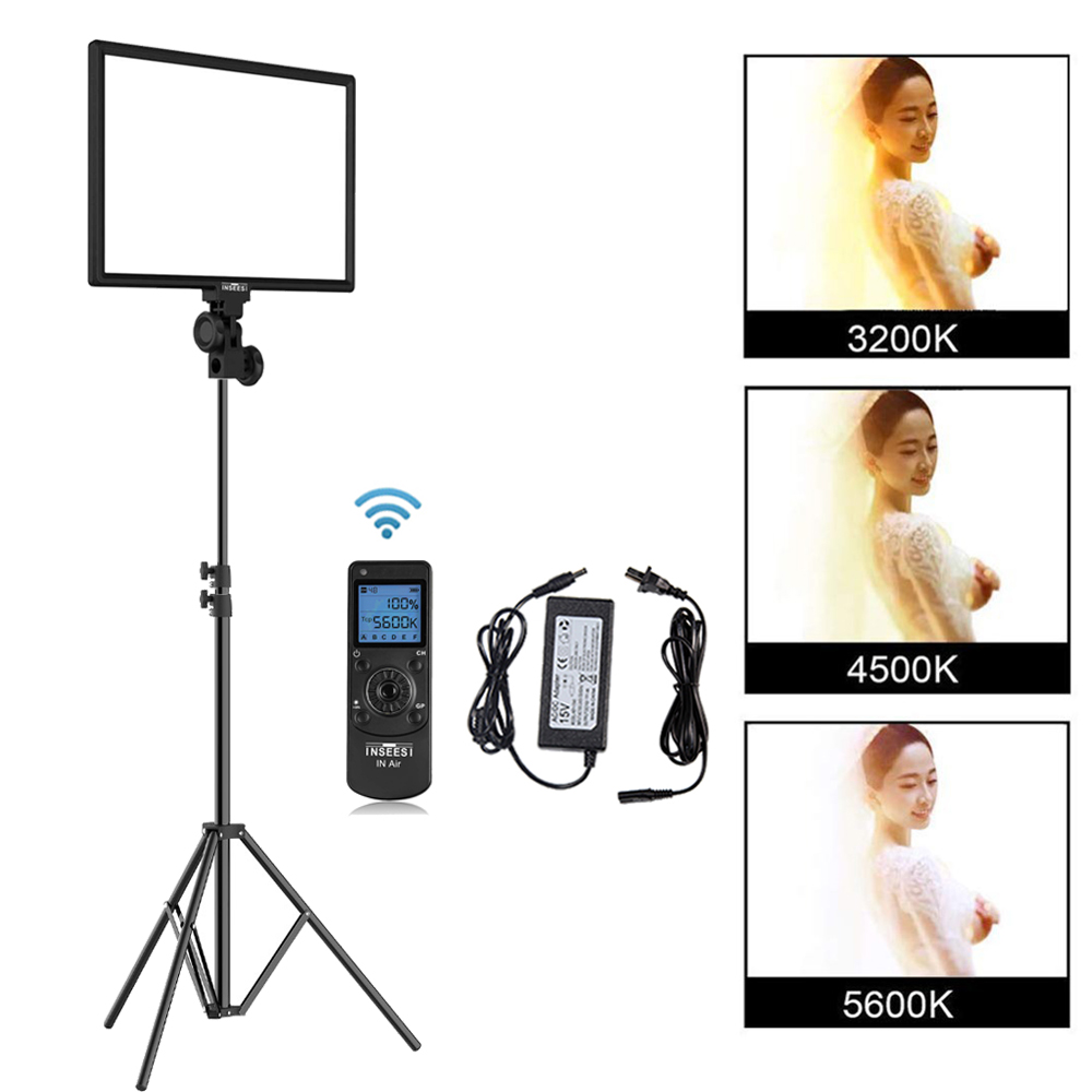 INSEESI LED Video Light IN-600 Wireless Remote Bi-color Dimmable Studio Video Light For Camcorders Camera YouTube Live +AdapterINSEESI LED Video Light IN-600 Wireless Remote Bi-color Dimmable Studio Video Light For Camcorders Camera YouTube Live +Adapter