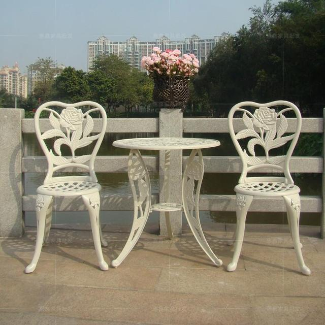 Three Piece Cast Aluminum Chairs Balcony Minimalist Fashion Modern Patio Furniture Garden Chair White