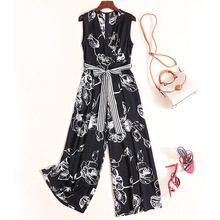 Rompers Womens Jumpsuit Summer 2019 New Fashion Printed V-Neck Sleeveless Lace-up Waist Bow Slim Wide Leg Pants Female S-XL