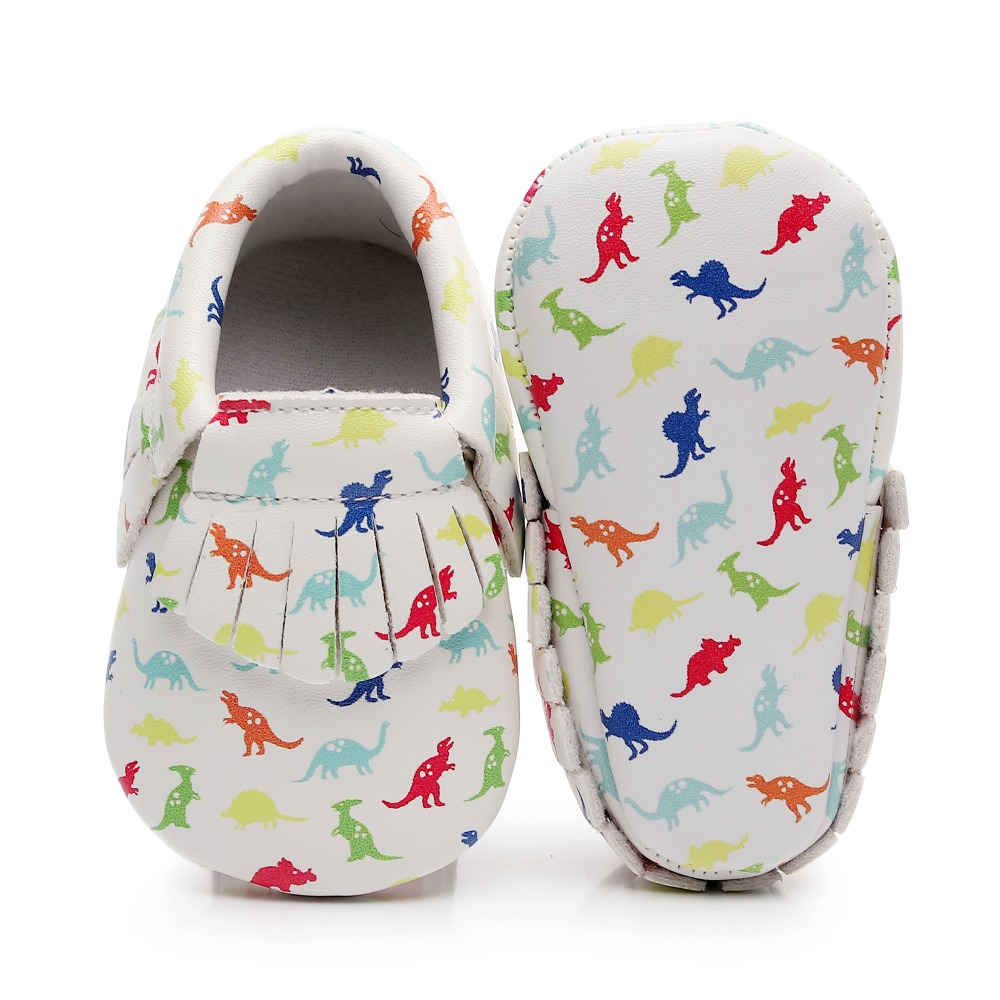 f332e169fb9 Dinosaur Printing Baby Shoes Boys Toddler Shoes Baby Moccasins 0-3 3-6 6-12  12-18 18-24M Soft Leather First Walkers Bebe Shoes