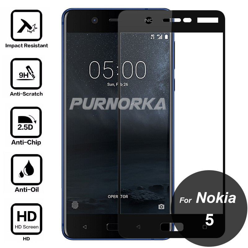 For Nokia 5 Tempered Glass 9H Full Cover Screen Protector Covering Protective Film On Nokia5 TA-1008 TA-1024 TA-1027 TA-1053For Nokia 5 Tempered Glass 9H Full Cover Screen Protector Covering Protective Film On Nokia5 TA-1008 TA-1024 TA-1027 TA-1053
