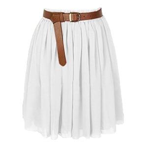 Women Mini Skirt Girl Chiffon Short Dress Pleated Retro Elastic Waist Skirt Solid Color Party beach Casual Pleated Summer Skirt