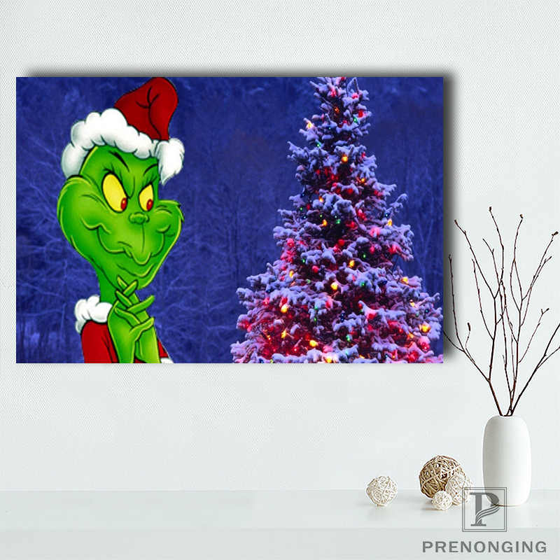 Custom hristmas Backgrounds Grinch Poster Home Decor Canvas Printing Silk Fabric Print Wall Poster No Frame#190114@10