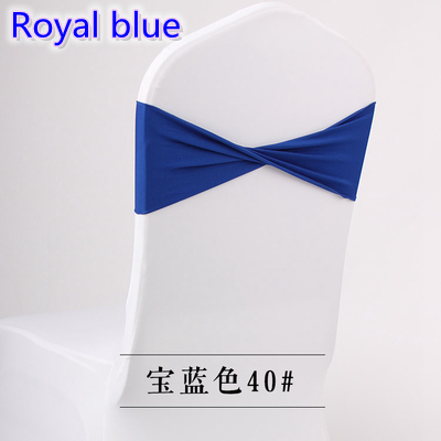 Colour Royal blue spandex sashes lycra sash for chair cover spandex bands bow tie For Wedding Decoration banquet design on sale