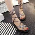 DreamShining Verano Gladiador Sandalias de Mujer Sandalias Botas Femininas Verano Sexy Atadas-cruz Lace Up Botas de Mujer Zapatos Sandalia