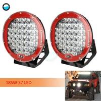 2 pcs 185W Round 9 Led Work Light Fog Headlight 12V 24V Off road 4WD 4x4 Led Spotlight Black Led Driving Lighting