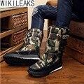 Homens Inverno Quente Espessamento da Wikileaks Plataformas Sapatos Deserto Militares À Prova D' Água do Sexo Masculino Na Altura Do Joelho-Botas de Neve Alta Botas de Caça Ao Ar Livre