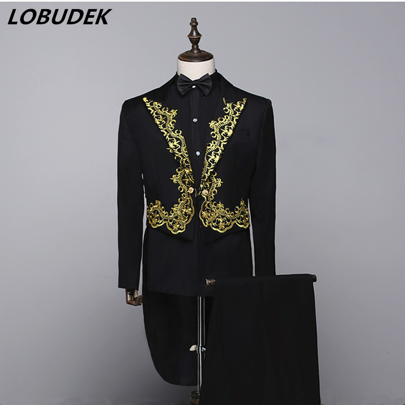 Black Formal Embroidery Men Suit Swallowtail Magician Show Costume Host Stage Wedding Groom Studio Tailcoat Singer Chorus Outfit
