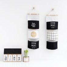 Nordic Black White Wall Hanging Storage Bags 3 Pockets Cotton Linen Wardrobe Closet Cosmetics Sundries Organizer Pouch Hang Bag