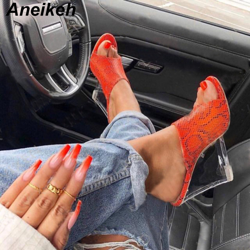 Aneikeh NEW Serpentine PVC Transparent Women's Shoes High Heel Dress Slippers Summer Fashion Slip On Wedges Slides Women Mules