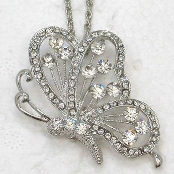 Collar con colgante de mariposa de diamantes de imitación claro F132 A