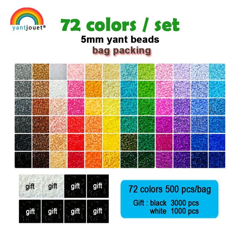 Yantjouet 5 мм Yant бисер 72 цвета/набор черно белый для детей Хама перлер бисер Diy пазлы высокое качество ручной работы Подарок детская игрушка