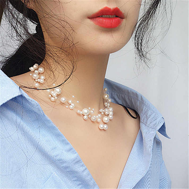 All over the sky star fairy transparent line of pearl necklace chain multilayer brief paragraph female necklace