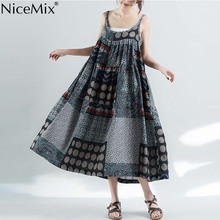 NiceMix plus size Womens Summer Party Dress Sleeveless Cotton Linen Strappy Loose Bohe Print Mid-Calf O-Neck Plus Size Wo