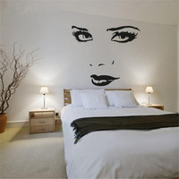 Large Size Pretty Face Wall Art Stickers Wall Decals For Home Decoration