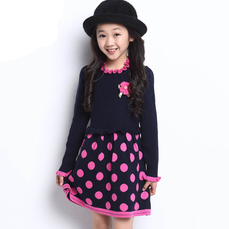 New designs polka dots kids girls corsage party dress 2 piece set flower brooch for cocktail prom top crop dress set for girl  2016 trendy fabric blooming peony flower corsage brooch woman hair decorations