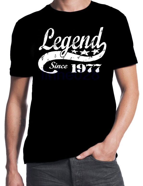 40th Birthday Legend Since 1977 40 Years Old Gift Idea Dad Present Black T Shirt Discount 100 Cotton For MenS