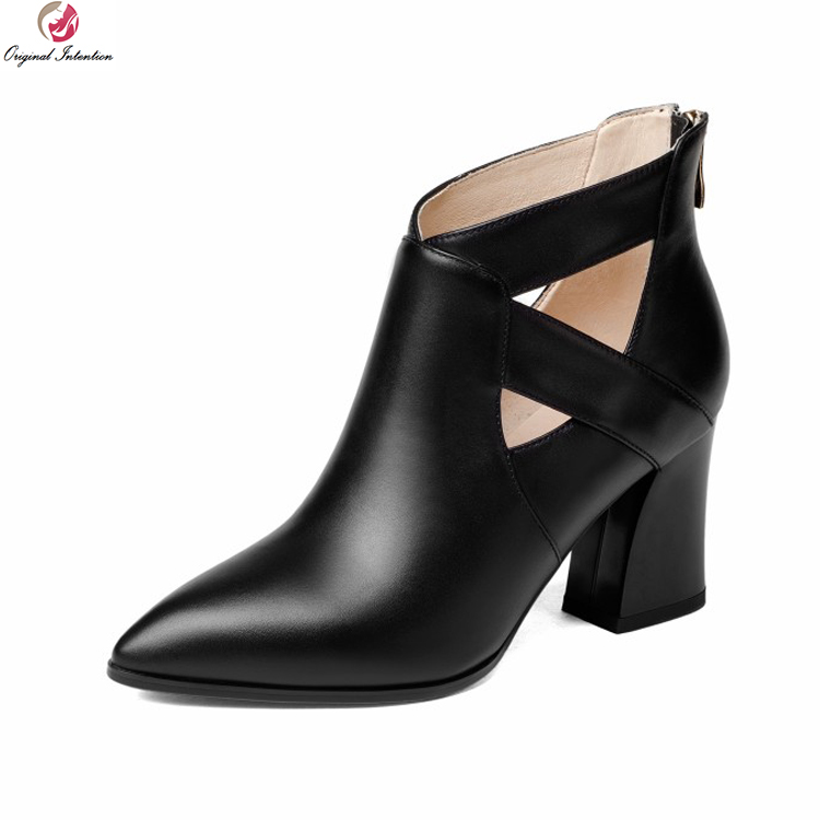 Original Intention Women Stylish Ankle Boots Real Leather Pointed Toe Square Heels Boots Black Beige Shoes Woman US Size 4-8.5