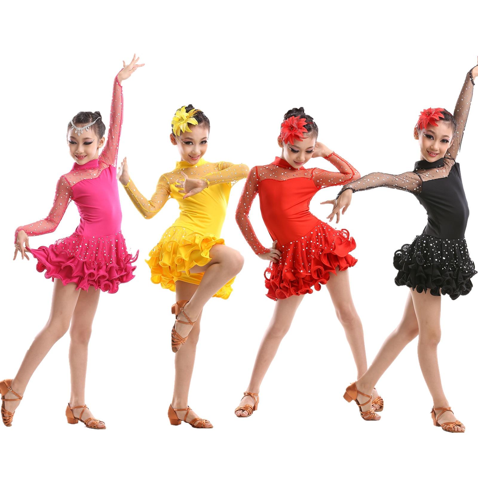 lace latin dress girls for competition rumba dress rumba dance tassel ballroom tango sexy costumes dance wear kids salsa fringe