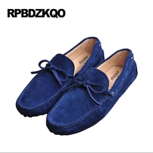 Red Driving Boat Casual Comfort New Blue Orange Soft Breathable 2017 Suede Loafers Moccasins Men Slip-ons Shoes Autumn Spring