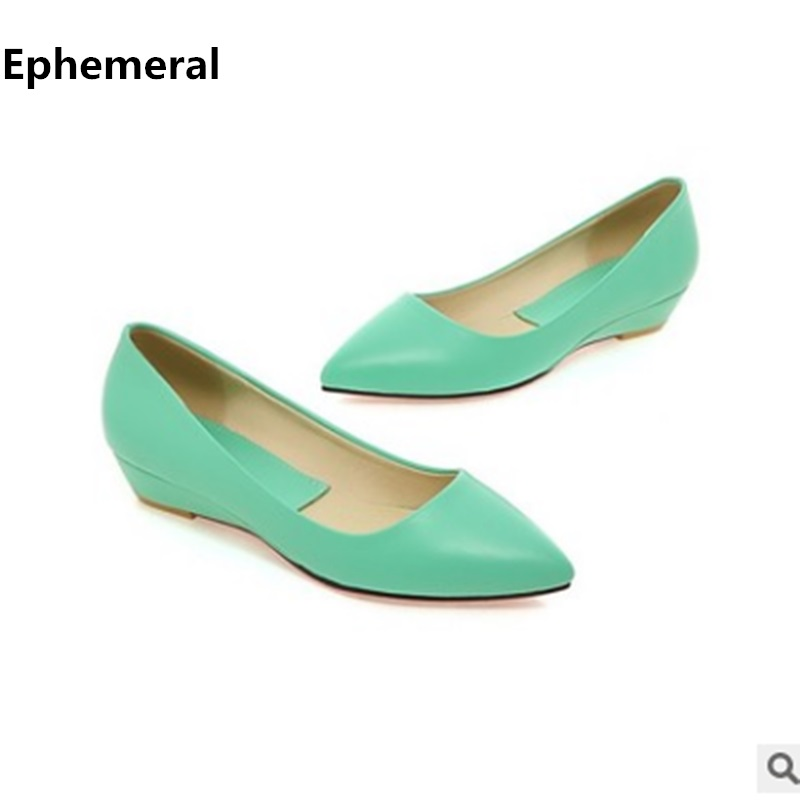 Ladies Black Green Wedges Shoes Pointed Toe Chunky Heel PU leather High Heels Pumps Plus Size 11 15 34 Mujer Zapatos Brand Shoes