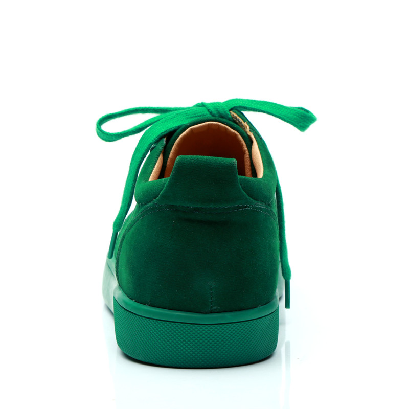 SHOOEGLE Plus Size39 47 Chaussures Hommes Men Green Suede Sneaker Lace up Flat Low Top Shoes Men Runway High Quality Shoes - 4