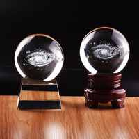 Newest 80mm Galaxy Crystal Ball Astronomical Model Gift Planets Glass Ball 3D Laser Engraving Ball Home Decor crystal sphere