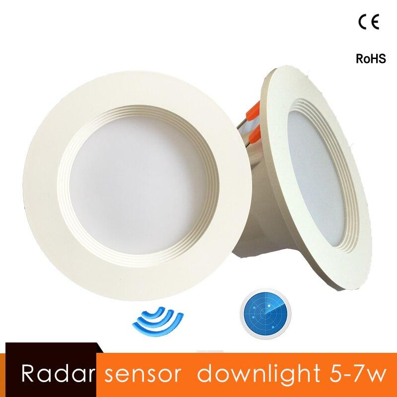 Radar Motion Sensor LED Downlight 5W 7W Round Recessed Lamp 90-260v 110/220V Led Bulb For Living Room Study Bedroom Aisle Indoor