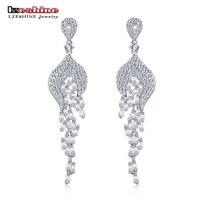 LZESHINE 2017 New Vintage Long Earrings Korean AAA Cubic Zirconia Earrings Female Jewelry Valentine S Day