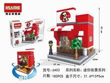 HSANHE 6403 Architectural Scene Series Fast food restaurant Educational Diamond Bricks Minifigure Building Block Toys Gift