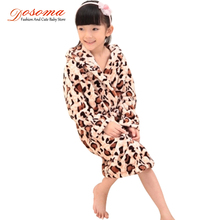 Kiqoo 2016 New Arrival Girls Coral Cashmere Children's One Piece Long Sleeve Bathrobes with Hood Kids Flannel Sleepwear Robes