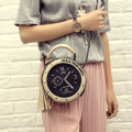 Women Leather Shoulder Messenger Bags Clock Models Famous Cartoon Round Style Fashion 2017 Popular Crossbody Tassel Hot Sale 626