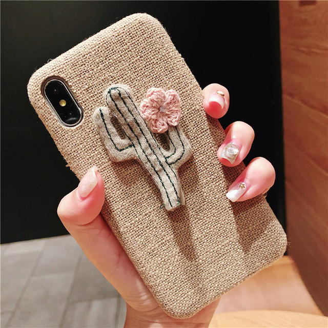 Soft Case For Iphone X Xs XR Xs Max Anti-slip Cute Cactus fabric Canvas Plush Cover Case For Iphone 6 6S 7 8 Plus 7 Plus Shell