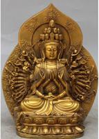 Free Shipping>9 Chinese Buddhism Bronze Kwan Yin 1000 Arms Avalokiteshvara Goddess Statue