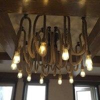 Современный творческий в сдержанном стиле Книги по искусству Стиль Ресторан подвесной светильник форменная одежда кафе пеньковая веревка