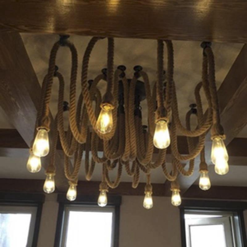 Modern Creative Concise Art Style Restaurant Pendant Light Toggery Bar Cafe Hemp Rope decoration Lamp Free Shipping