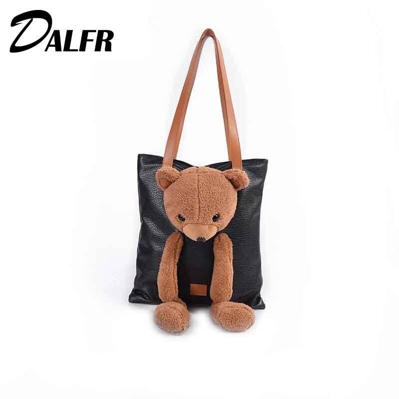 DALFR mignon femmes sac à main célèbre marque ours poupée dessin animé Shopping fourre-tout pour les filles sac à bandoulière en cuir sacs à bandoulière