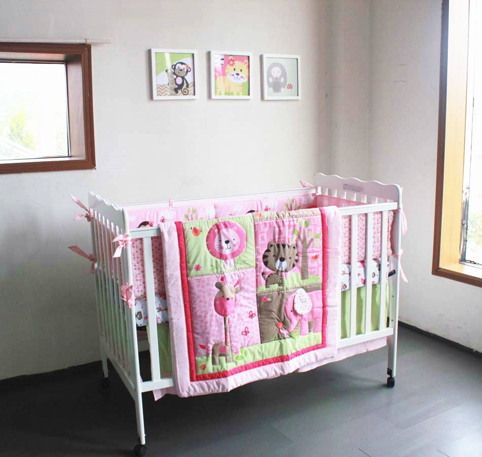 Promotion! 7PCS embroidery baby bedding set baby boy bedding crib sets ,include(bumper+duvet+bed cover+bed skirt) promotion 6pcs embroidery baby newborn bed crib sheet sets children bedding boy girls include bumper duvet bed cover